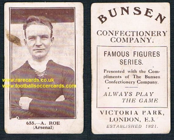 1922 Bunsen confectionery Archie Roe Arsenal Castleford Gillingham Lincoln South Shields Wednesday
